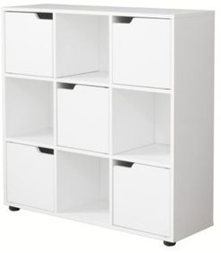 9 Cube Wooden Organizer with 5 Enclosed Doors and 4 Shelves
