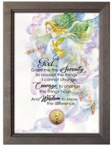 Serenity Prayer with Angel Coin in Frame