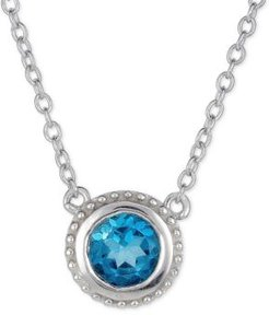 "London Blue Topaz Solitaire Pendant Necklace (5/8 ct. t.w.) in Sterling Silver, 16"" + 2"" extender"