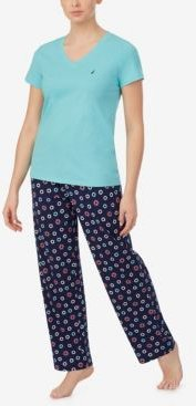 V-Neck Short Sleeve Pajama Top with Long Printed Pant