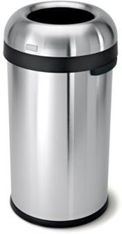 Brushed Stainless Steel 60 Liter Open Trash Can