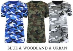 Loose Fit Short Sleeve Crew Neck Camo Printed Tee, Pack of 3