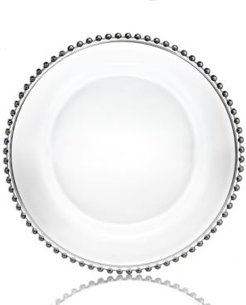Jay Import American Atelier Glass Silver Beaded Charger Plate