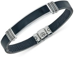 Onyx (45 x 15mm) Black Leather Bracelet in Sterling Silver, Created for Macy's