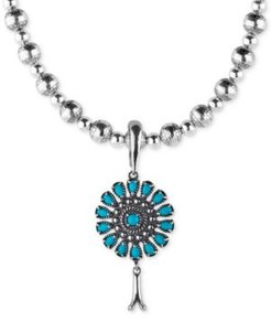 """Turquoise Blossom Pendant Necklace (3-1/3 ct. t.w.) in Sterling Silver, 17"""" + 3"""" extender"""