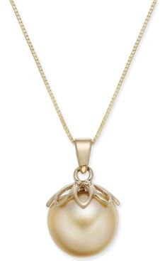 """Cultured Golden South Sea Pearl (10mm) 18"""" Pendant Necklace in 14k Gold"""