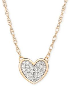 """Diamond Accent Heart Pendant Necklace in 14k Gold, 15"""" + 1"""" extender, Created for Macy's"""