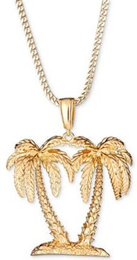 "Palm Tree 24"" Pendant Necklace in 18k Gold-Plated Sterling Silver"