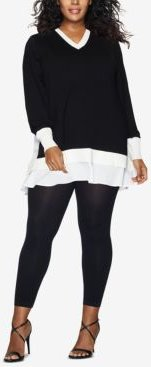 Curves Plus Size Blackout Footless Tights