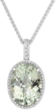 Green Quartz (15 ct. t.w.) and White Topaz (3/8 ct. t.w.) Large Oval Pendant Necklace in Sterling Silver