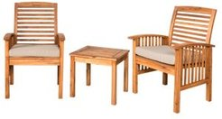 Outdoor Classic Acacia Wood Patio Chairs and Side Table - Brown