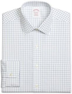 Madison Classic/Regular Fit Non-Iron Windowpane Blue Dress Shirt