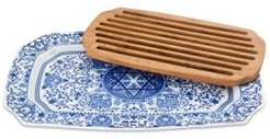 Judaica Challah Tray with Wooden Insert