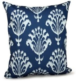 16 Inch Navy Blue Decorative Floral Throw Pillow