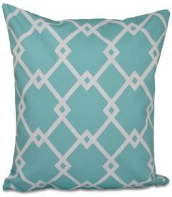 16 Inch Aqua Decorative Trellis Print Throw Pillow