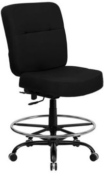 Offex 400 lb. Capacity Big & Tall Black Fabric Drafting Stool with Extra Wide Seat
