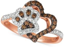 Nude & Chocolate Diamond Paw Print Heart Ring (3/8 ct. t.w.) in 14k Rose Gold