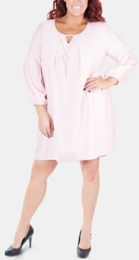 Plus Size Balloon-Sleeve Shift Dress With Necklace