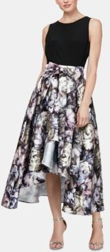 Solid & Printed High-Low Dress