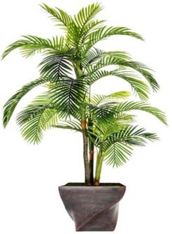 """93.5"""" Tall Palm Tree Artificial Indoor/ Outdoor Lifelike Faux in Fiberstone Planter"""