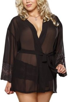 Plus Size Chiffon & Lace Sleeve Robe Set