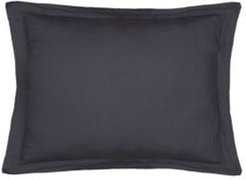 Home Washed Linen Charcoal King Sham with Flange Bedding