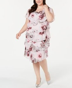 Plus Size Tiered Floral-Print Shift Dress