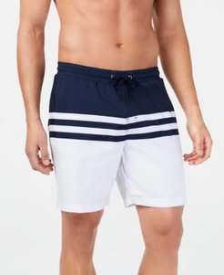 """Quick-Dry Performance Colorblocked Stripe 7"""" Swim Trunks, Created for Macy's"""