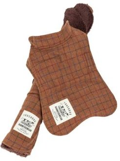 Touchdog 2-in-1 Windowpane Plaided Dog Jacket with Matching Reversible Dog Mat