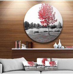 """Designart 'Red Tree Over Park Bench' Landscape Round Circle Metal Wall Art - 23"""" x 23"""""""