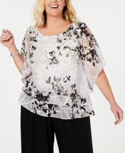 Plus Size Printed Tiered Blouse