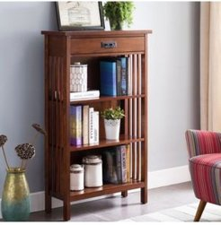 Home Mission Oak Slatted Mantel Height 3-Shelf Bookcase with Drawer Storage