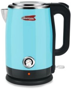 1.7L Blue Cool Touch Stainless Steel Electric Kettle with Temperature Gauge