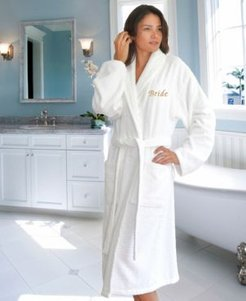 """Terry Bathrobe with Embroidered """"Bride"""" Bedding"""