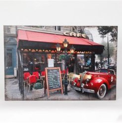 Fresco Cafe and Car Print with Led Lights