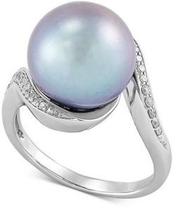 Cultured Grey Ming Pearl (12mm) & Diamond (1/8 ct. t.w.) Statement Ring in 14k White Gold