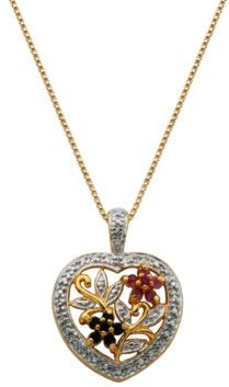 Multi-Gemstone (1/5 ct. t.w.) Heart Pendant in 18k Yellow Gold Over Sterling Silver