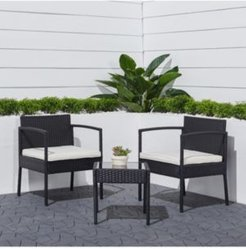 Tierra 3-Piece Classic Outdoor Wicker Coffee Lounger Set with Cushion