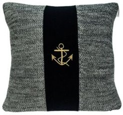 Ahoy Nautical Blue Pillow Cover with Polyester Insert