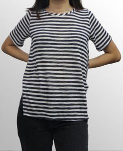 1804 Womens Stripe Button Back T-Shirt