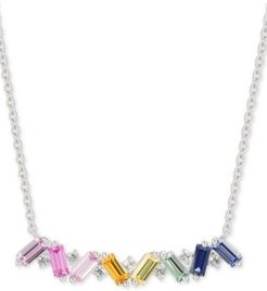 """Lab-Created Multi-Sapphire Baguette 15-3/4"""" Pendant Necklace (1-1/3 ct. t.w.) in Sterling Silver"""