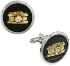 1928 Jewelry Silver-Tone and 14K Gold-Plated Enamel Crystal Camera Cufflinks