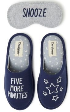 Faux-Fur Scuff Slippers & Eye Mask, Online Only