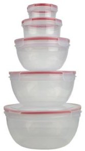 Hds Trading Locking Round Food Storage Containers with Snap-On Lids - 10 Piece