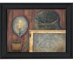 "Tin Sconce By Pam Britton, Printed Wall Art, Ready to hang, Black Frame, 19"" x 15"""