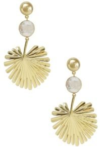 Palm Leaf Earrings with Pearl