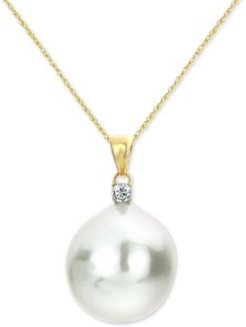 """Cultured Baroque Freshwater Pearl (12mm) & Diamond (1/20 ct. t.w.) 18"""" Pendant Necklace in 14k Gold"""