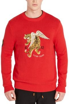 Regular-Fit Embroidered Tiger Sweater