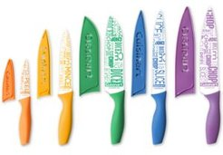 10-Pc. Ceramic-Coated Printed Cutlery Set with Blade Guards