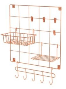 8-Pc. Copper Wire Wall Grid with Storage Accessories